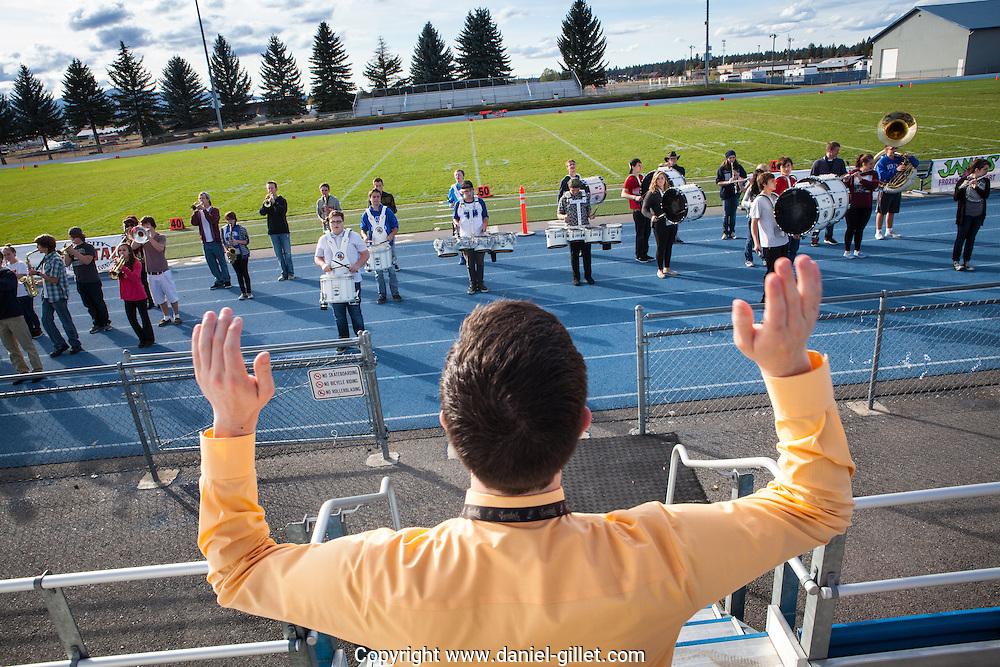 Repetition de la fanfare, Coeur d'Alene highschool, Idaho, USA.