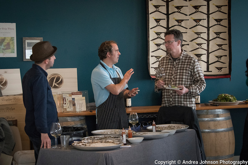 Ethan and Tobias of EaT: An Oyster Bar with Scott Shull at Raptor Ridge Grüner Veltliner and oyster pairing club event, Chehalem Mountains AVA, Willamette Valley, Oregon