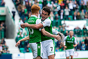 Hibernian midfielder John McGinn (#7) and Hibernian forward Simon Murray (#15) celebrate Hibernian's third goal (3-1) during the Ladbrokes Scottish Premiership match between Hibernian and Partick Thistle at Easter Road, Edinburgh, Scotland on 5 August 2017. Photo by Craig Doyle.