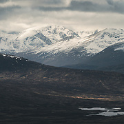 Corrour Station and the Nevis Range from Carn Dearg