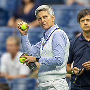 2019 US Open Tennis Tournament- Day Eleven. Tennis umpire Marija Cicak of Croatia checks the balls before the  Serena Williams of the United States match against Elina Svitolina of the Ukraine in the Women's Singles Semi-Finals match on Arthur Ashe Stadium during the 2019 US Open Tennis Tournament at the USTA Billie Jean King National Tennis Center on September 5th, 2019 in Flushing, Queens, New York City.  (Photo by Tim Clayton/Corbis via Getty Images)