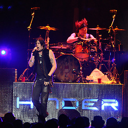 28 February, 2009: Austin Winkler of Hinder performs on stage during the Motley Crue Saints of Los Angeles Tour that made a stop at the New Orleans Arena in New Orleans, Louisiana.
