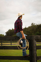 back of a a cowboy sitting on a fence with a lasso in his hand on a ranch