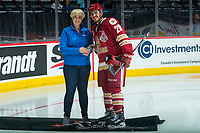 REGINA, SK - MAY 19: Samuel Asselin #28 of Acadie-Bathurst Titan is presented with the second star after the overtime win against the Swift Current Broncos at the Brandt Centre on May 19, 2018 in Regina, Canada. (Photo by Marissa Baecker/CHL Images)