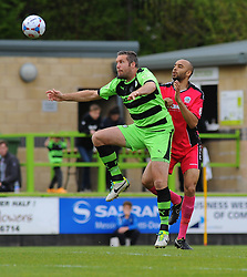 Forest Green Rovers's Jonathan Parkin wins the high ball against Dover Athletic's Richard Orlu- Photo mandatory by-line: Nizaam Jones - Mobile: 07966 386802 - 25/04/2015 - SPORT - Football - Nailsworth - The New Lawn - Forest Green Rovers v Dover - Vanarama Conference League
