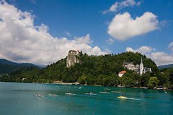 Lake of Bled with a castle at 54th International rowing Regatta, on June 13, 2009, at Bled lake, Slovenia. (Photo by Vid Ponikvar / Sportida)