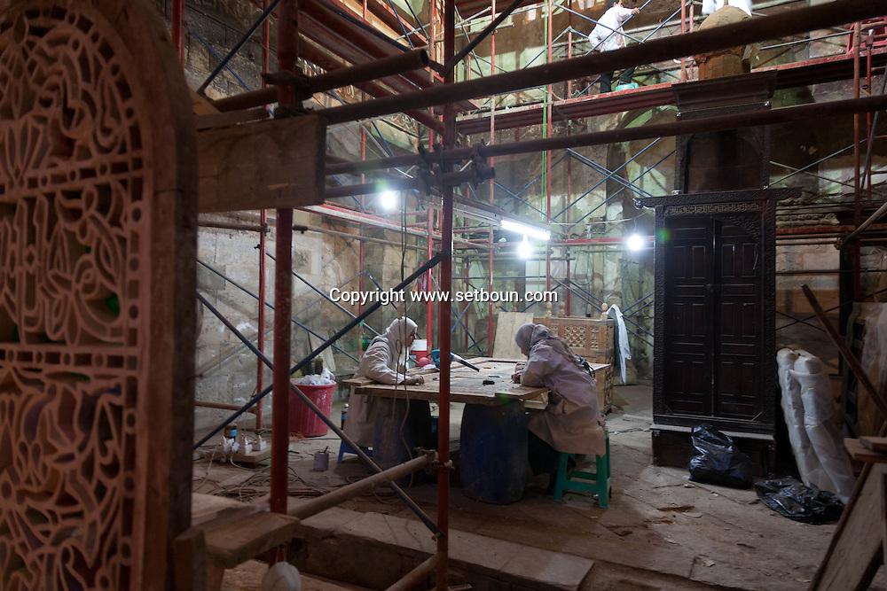 Egypt. Cairo -ASLAM AL SILHADAR mosque under renovation in DARB AL AHMAR  area , islamic Cairo   NM112 +