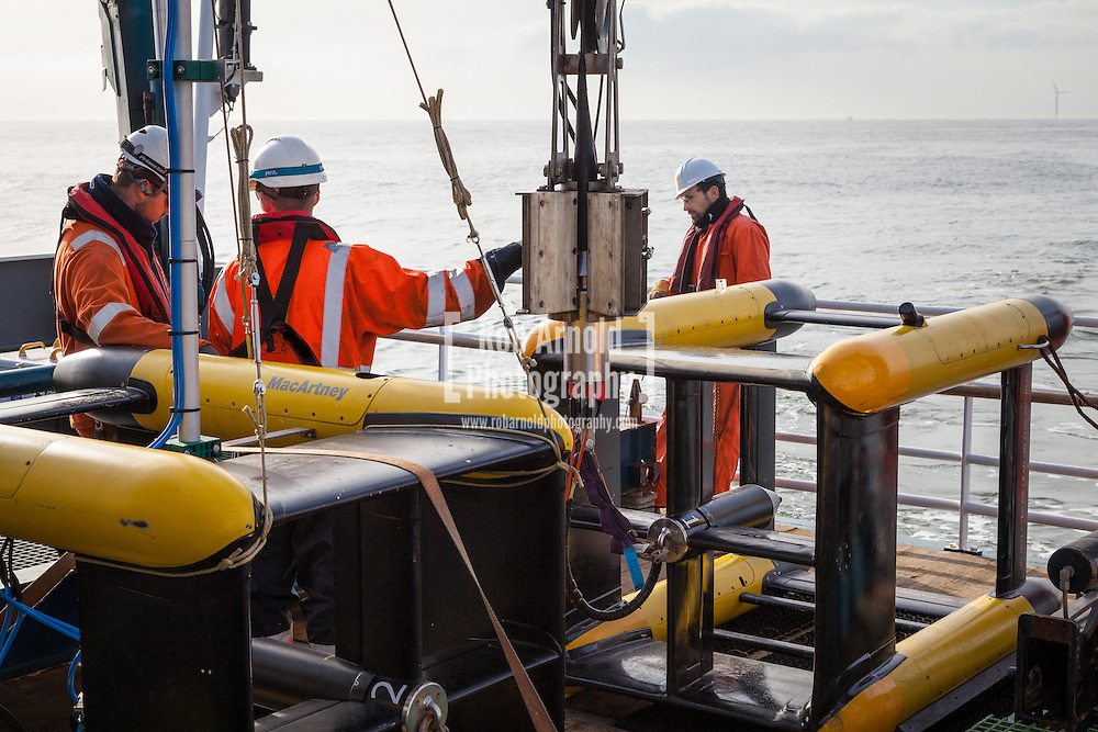 A Macartney Focus 2 Remotely Operated Towed Vehicle (ROTV) fitted with Edgtech 4200 300/600kHz transducers being deployed from the N-Sea vessel, Noordhoek Pathfinder, off Borkum, in the German North Sea