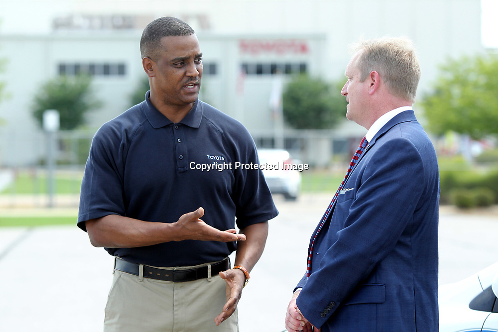Sean Suggs, President of Toyota Motor Manufacturing Mississippi, presents 10 Corolla's to Itawamba Community College President Dr. Jay Allen to be used in the ICC Career and Technology programs Wednesday afternoon at the Blue Springs plant.