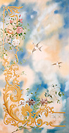hand painted decorative composition representing the sky with brds and flowers