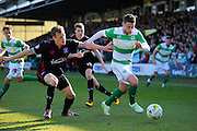 Carlisle Utd's Tom Miller and Yeovil Town's Jack Compton during the Sky Bet League 2 match between Yeovil Town and Carlisle United at Huish Park, Yeovil, England on 25 March 2016. Photo by Graham Hunt.