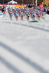 03.03.2013, Langlaufstadion, Lago di Tesero, ITA, FIS Weltmeisterschaften Ski Nordisch, Langlauf Herren, 50 km, im Bild group of athletes at the start during the Men 50 km Cross Country of the FIS Nordic Ski World Championships 2013 at the Cross Country Stadium, Lago di Tesero, Italy on 2013/03/03. EXPA Pictures ©  2013, PhotoCredit: EXPA/ Federico Modica