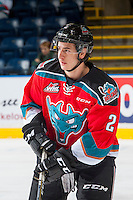 KELOWNA, CANADA - DECEMBER 3: James Hilsendager #2 of the Kelowna Rockets warms up against the Brandon Wheat Kings on December 3, 2016 at Prospera Place in Kelowna, British Columbia, Canada.  (Photo by Marissa Baecker/Shoot the Breeze)  *** Local Caption ***
