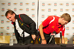 BOSTON, MA - Tuesday, July 24, 2012: Liverpool's manager Brendan Rodgers and captain Steven Gerrard during a press conference at Fenway Park, home of the Boston Red Sox, to announce a four-year sponsorship deal with car marker Chevrolet, ahead of their second preseason match of the North American tour, against AS Roma. (Pic by David Rawcliffe/Propaganda)