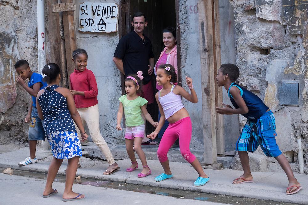 Dance lesson on a street in Havana, Cuba.