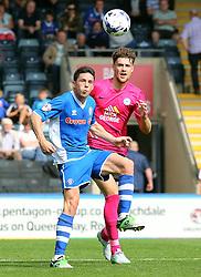 Alex Davey of Peterborough United in action with Ian Henderson of Rochdale - Mandatory byline: Joe Dent/JMP - 07966386802 - 08/08/2015 - FOOTBALL - Spotland Stadium -Rochdale,England - Rochdale AFC v Peterborough United - Sky Bet League One