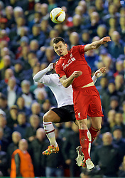 LIVERPOOL, ENGLAND - Thursday, March 10, 2016: Liverpool's Dejan Lovren in action against Manchester United during the UEFA Europa League Round of 16 1st Leg match at Anfield. (Pic by David Rawcliffe/Propaganda)