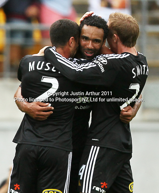 Phoenix's Paul Ifill celebrates his goal with team mates. A-League football - Wellington Phoenix v Melbourne Heart at Westpac Stadium, Wellington, New Zealand on Sunday 29 January 2012. Photo: Justin Arthur / Photosport.co.nz