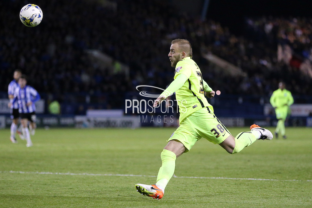 Jiri Skalak fires a volley over the bar during the Sky Bet Championship Play Off First Leg match between Sheffield Wednesday and Brighton and Hove Albion at Hillsborough, Sheffield, England on 13 May 2016.