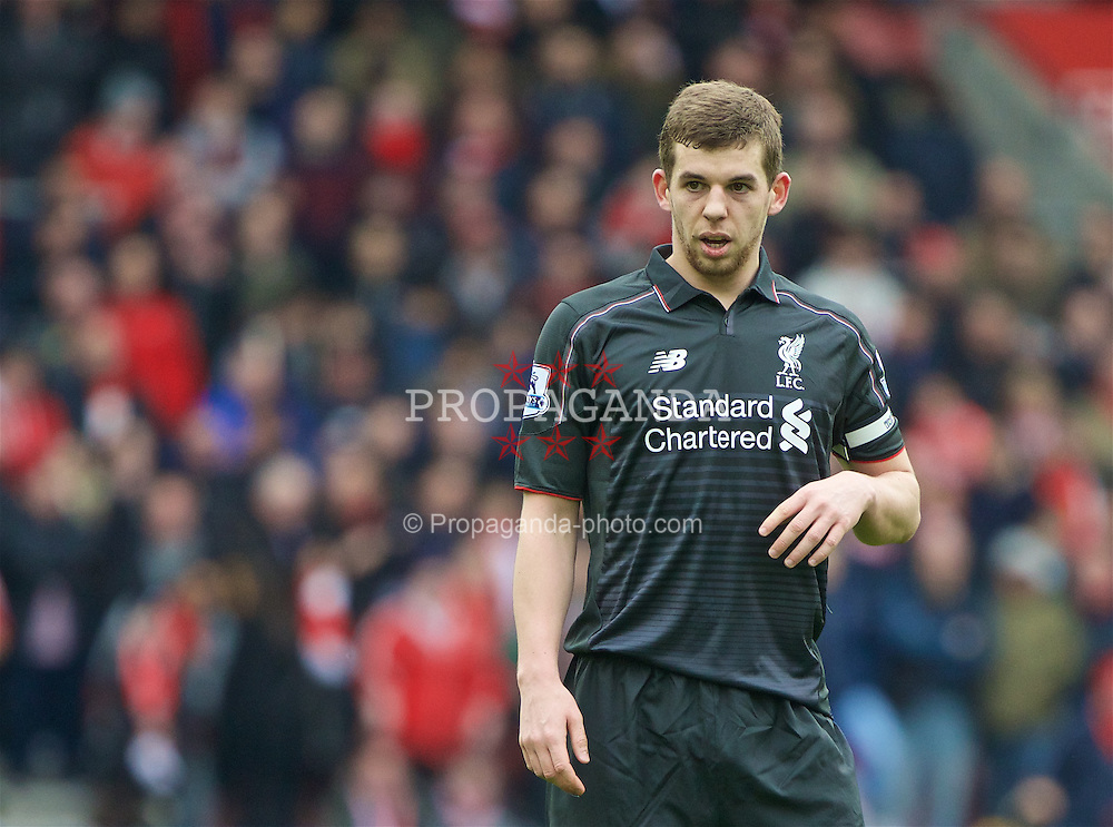 SOUTHAMPTON, ENGLAND - Sunday, March 20, 2016: Liverpool's new captan Jon Flanagan in action against Southampton during the FA Premier League match at St Mary's Stadium. (Pic by David Rawcliffe/Propaganda)