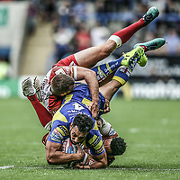 Picture by Paul Currie/SWpix.com - 24/06/2017 - Rugby League - Betfred Super League - Warrington Wolves v Catalan Dragons - Halliwell Jones Stadium, Warrington, England - Ryan Atkins of Warrington Wolves'  is tackled by Jodie Broughton of Catalan Dragons and Iain Thornley