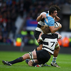 LONDON, ENGLAND - DECEMBER 01: Pieter-Steph du Toit (Stormers & South Africa) of the Barbarians tackling Pablo Matera of Argentina during the Killik Cup match between Barbarians and Argentina at Twickenham Stadium on December 01, 2018 in London, England. (Photo by Steve Haag/Gallo Images)