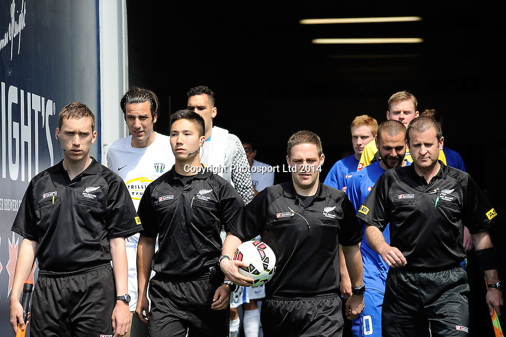 Referees and Players before the match during the ASB Football Premiership, Southern v Auckland, 25 October 2014, Forsyth Barr Stadium Dunedin,  New Zealand. Photo: Richard Hood/photosport.co.nz