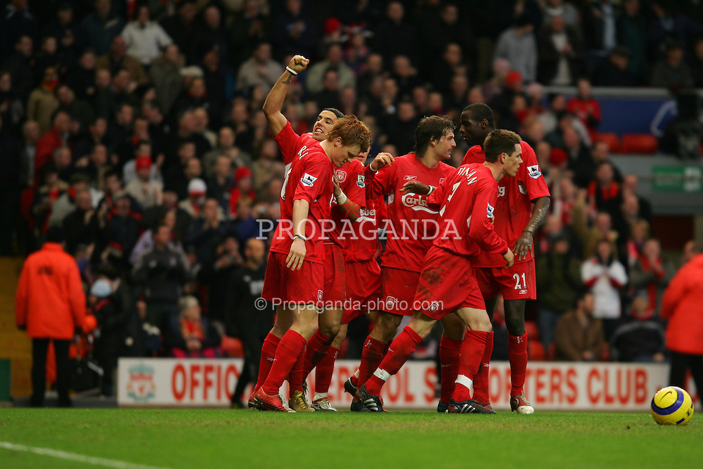 LIVERPOOL, ENGLAND - SATURDAY FEBRUARY 5th 2005: Liverpool's Milan Baros celebrates scoring the third goal against  Fulham with his team mates during the Premiership match at Anfield. (Pic by David Rawcliffe/Propaganda)