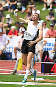 Zach Ziemek (USA) throws  46-0 3/4  (14.04m) in the shot put during the decathlon at the DecaStar meeting, Friday, June 22, 2019, in Talence, France. Ziemek placed second with 8,344 points. (Jiro Mochizuki/Image of Sport)