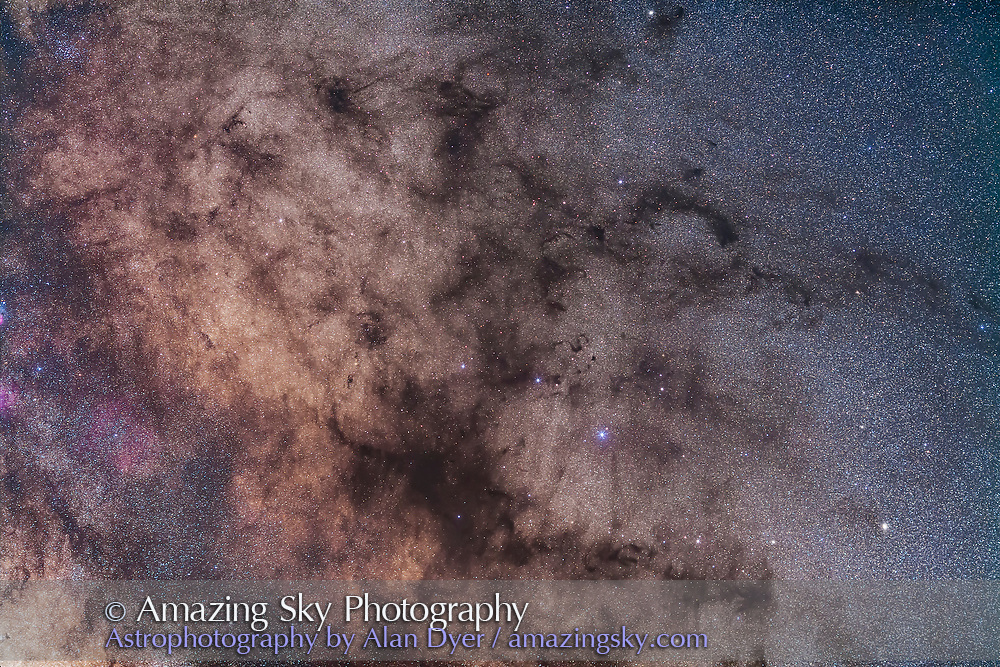 The region around the Pipe Nebula (B78), the main part of the naked-eye formation of dark nebulas called the Dark Horse. In photos it breaks up into patches of dark nebulosity, including the tiny Snake Nebula (B72) at centre in Ophiuchus.<br /> <br /> I shot this the morning of May 5, 2014 from the Four Bar Cottages near the Arizona Sky Village near Portal, Arizona. This is a stack of 5 x 3 minute exposures with the 135mm telephoto lens at f/2.8 and filter modified Canon 5D Mark II at ISO 1600. It is one segment of a larger multi-panel mosaic.