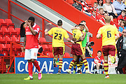 Burnley striker, Andre Grey (07) celebrating scoring 0-3 during the Sky Bet Championship match between Charlton Athletic and Burnley at The Valley, London, England on 7 May 2016. Photo by Matthew Redman.