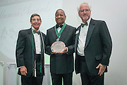 From Left, Larry Starr, Roderick McDavis and Ron Teplitzky pose after McDavis was awarded the Alumnus of the Year during the 2016 Alumni Awards Gala at Ohio University's Baker Center Ballroom on Friday, October 07, 2016.