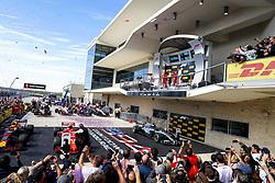 October 21, 2018 - Austin, United States - Motorsports: FIA Formula One World Championship; 2018; Grand Prix; United States, FORMULA 1 PIRELLI 2018 UNITED S GRAND PRIX , Circuit of The Americas#7 Kimi Raikkonen (FIN, Scuderia Ferrari), #33 Max Verstappen (NDL, Red Bull Racing), #44 Lewis Hamilton (GBR, Mercedes AMG Petronas F1 Team) (Credit Image: © Hoch Zwei via ZUMA Wire)