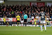 Burton Albion striker Cauley Woodrow (12) scores a goal 3-1 during the EFL Sky Bet Championship match between Burton Albion and Brentford at the Pirelli Stadium, Burton upon Trent, England on 18 March 2017. Photo by Richard Holmes.