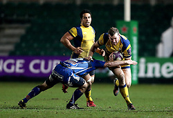 Max Stelling of Worcester Warriors is tackled by Adam Warren of Newport Gwent Dragons - Mandatory by-line: Robbie Stephenson/JMP - 16/12/2016 - RUGBY - Rodney Parade - Newport, Wales - Newport Gwent Dragons v Worcester Warriors - European Rugby Challenge Cup