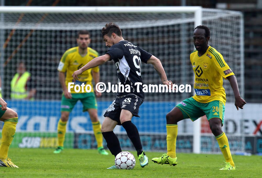 25.5.2016, Tammelan stadion, Tampere.<br /> Veikkausliiga 2016.<br /> Ilves - FC Lahti.<br /> Ivan Solovyov (FC Lahti) v Reuben Ayarna (Ilves).