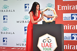 February 24, 2019 - Abu Dhabi, Emirati Arabi Uniti, Emirati Arabi Uniti - Foto LaPresse - Massimo Paolone.24 Febbraio 2019 Abu Dhabi (Emirati Arabi Uniti).Sport Ciclismo.UAE Tour 2019 - Tappa 1 - Da Al Hudayriat Island a Al Hudayriat Island - Crono squadre 16 km.Nella foto: la miss con il trofeo..Photo LaPresse - Massimo Paolone.February 24, 2019 Abu Dhabi (United Arab Emirates) .Sport Cycling.UAE Tour 2019 - Stage 1 - From Al Hudayriat Island to Al Hudayriat Island - TTT 9,9 miles.In the pic: the miss with the trophy (Credit Image: © Massimo Paolone/Lapresse via ZUMA Press)