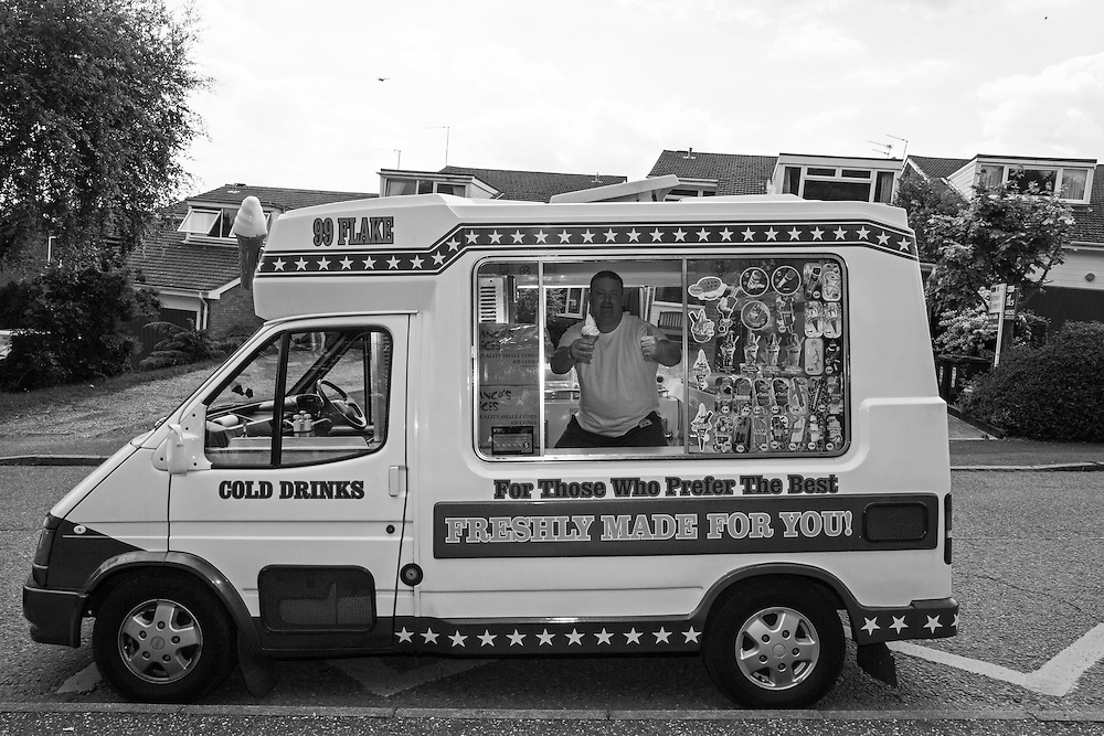 The ice cream van man gives us thumbs up as he waits for customers outside Ben's primary school in Berkhamsted, England Tuesday, June 16, 2015 (Elizabeth Dalziel) #thesecretlifeofmothers #bringinguptheboys #dailylife