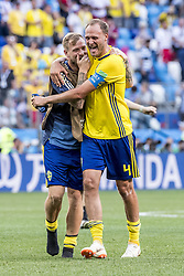 June 18, 2018 - Nizhny Novgorod, Russia - John Guidetti, Andreas Granqvist..2018 FIFA World CUP, Sweden - South Korea, 1-0, Nizhny Novgorod Stadium, Russia, 2018-06-18..(c) ORRE PONTUS  / Aftonbladet / IBL BildbyrÃ¥....* * * EXPRESSEN OUT * * *....AFTONBLADET / 85527 *** Local Caption  (Credit Image: © Orre Pontus/Aftonbladet/IBL via ZUMA Wire)