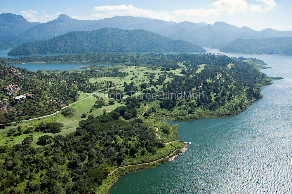 Aerial view of the Victoria Golf Course at Digana, near Kandy. It is surrounded by the Victoria resorvoir which generates hydro electricity.