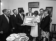 """The Carlingford Oyster Festival.1982.19.08.1982..08.19.1982.19th August 1982..Pictures and Images of the Carlingford Oyster Festival... The Minister For Fisheries and Forestry Mr Brendan Daly officially opened  The Carlingford Oyster Festival. The Chairman of the organising committee was Mr. Joe McKevitt..""""The Oyster Pearl"""" was Ms Deirdre McGrath..The committee present the Minister with a painting of Carlingford Lough."""