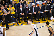 San Antonio Spurs head coach Gregg Popovich watches his team battle the Golden State Warriors during Game 2 of the Western Conference Quarterfinals at Oracle Arena in Oakland, Calif., on April 16, 2018. (Stan Olszewski/Special to S.F. Examiner)