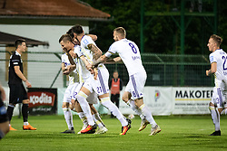 Players of Maribor celebraing goal during football match between NŠ Mura and NK Maribor in semifinal Round of Pokal Telekom Slovenije 2018/19, on April 24, 2019 in Fazanerija, Murska Sobota, Slovenia. Photo by Blaž Weindorfer / Sportida