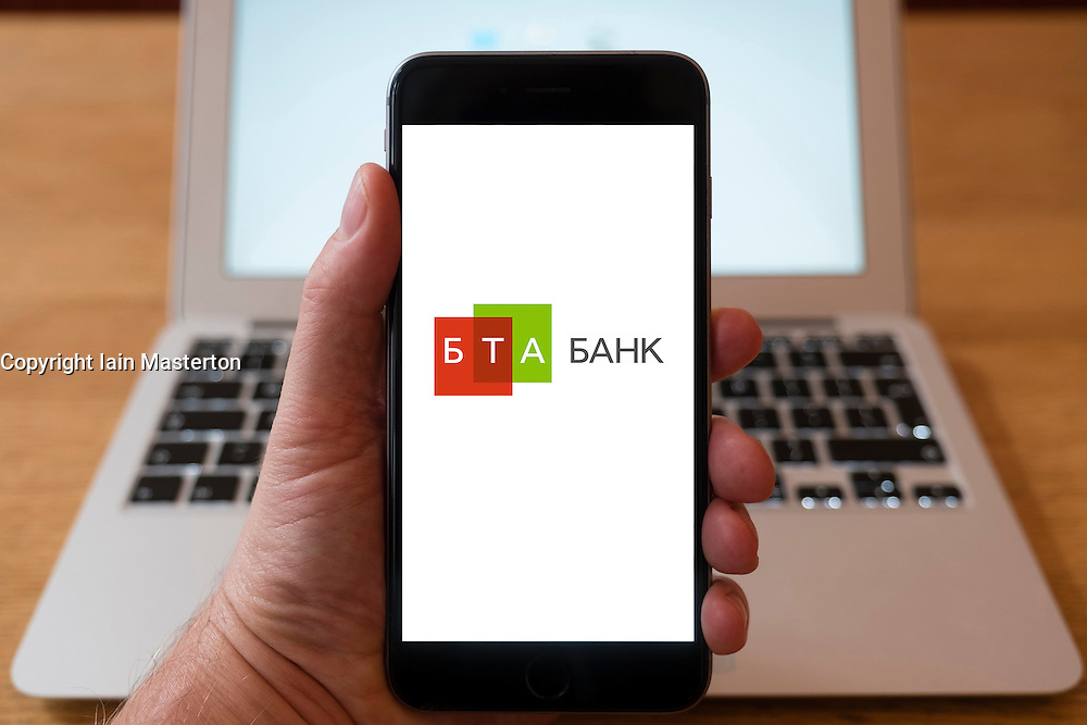 Using iPhone smart phone to display website logo of BTA Bank from Kazakhstan.