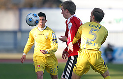 Robert Beric of Interblock and Rok Hanzic of Domzale at 24th round of  Slovenian football first league PrvaLiga Telekom Slovenije match between NK Domzale and NK Interblock, on March 14, 2009, in Domzale, Slovenia. (Photo by Vid Ponikvar / Sportida)