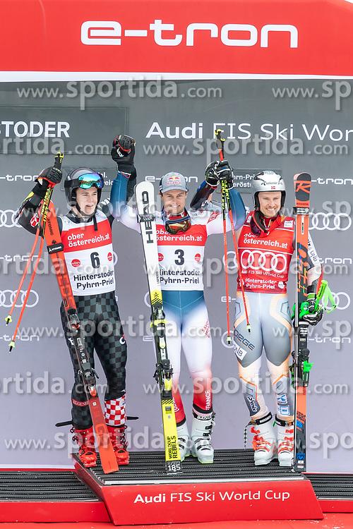 02.03.2020, Hannes Trinkl Weltcupstrecke, Hinterstoder, AUT, FIS Weltcup Ski Alpin, Riesenslalom, Herren, Siegerehrung, im Bild v.l. Filip Zubcic (CRO, 2. Platz), Alexis Pinturault (FRA, 1. Platz), Henrik Kristoffersen (NOR, 3. Platz) // f.l. second placed Filip Zubcic of Croatia winner Alexis Pinturault of France third placed Henrik Kristoffersen of Norway during the winner ceremony for the men's Giant Slalom of FIS ski alpine world cup at the Hannes Trinkl Weltcupstrecke in Hinterstoder, Austria on 2020/03/02. EXPA Pictures © 2020, PhotoCredit: EXPA/ Johann Groder
