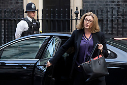 © Licensed to London News Pictures. 16/10/2018. London, UK. Secretary of State for International Development Penny Mordaunt arrives on Downing Street for the Cabinet meeting. Prime Minister Theresa May faces a possible rebellion from members of the Cabinet over her plans for Brexit. Photo credit: Rob Pinney/LNP