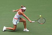 WUHAN, CHINA - SEPTEMBER 28: <br /> <br /> Simona Halep of Romania returns a shot during the women\'s singles third round match against Yaroslava Shvedova of Kazakhstan on day four of the 2016 WTA Dongfeng Motor Wuhan Open at Optics Valley International Tennis Center on September 28, 2016 in Wuhan, China. <br /> ©Exclusivepix Media