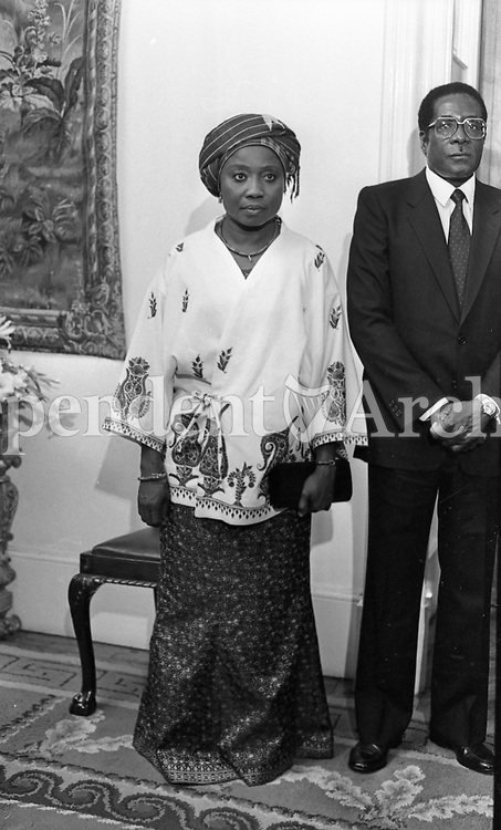 President of Zimbabwe Robert Mugabe with his wife Sally at a State reception at Dublin Castle during Mugabe's three-day visit to Ireland in September 1983. (Part of the Independent Newspaperrs Ireland/NLI Collection)