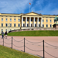 Norwegian Royal Palace Full View in Oslo, Norway <br />